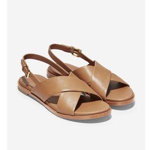 Cole Haan Fernanda Grand Flat Leather Sandal•Pecan